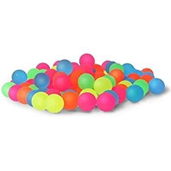 Bouncy Balls Bulk Set - Assorted Colorful Neon Bright Solid Colors - High Bouncing Balls Bulk - for Kids Playtime, Party Favors, Prizes, Birthdays & More! - Pack of 100, 2.3cm