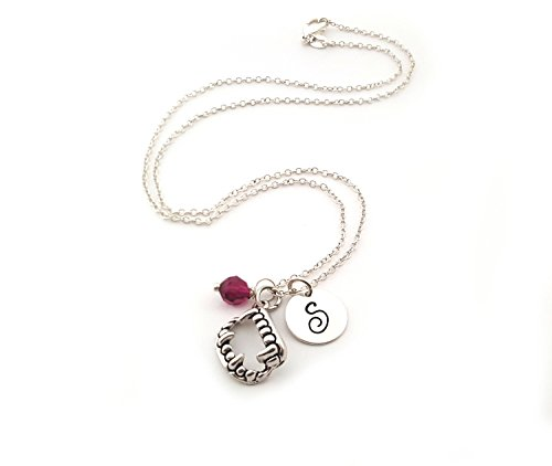 (Vampire Fangs Charm Necklace - Personalized Sterling Silver Jewelry)