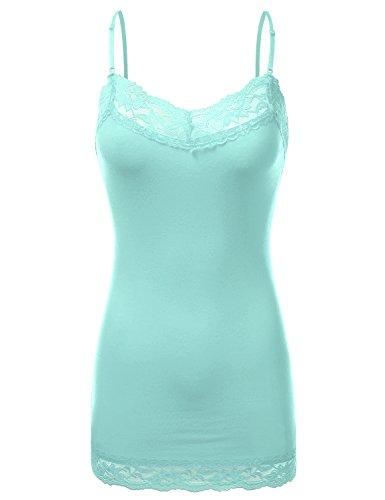 - JJ Perfection Women's Stretch V-Neck Lace Trim Camisole Tank Top BLUEMINT 3XL