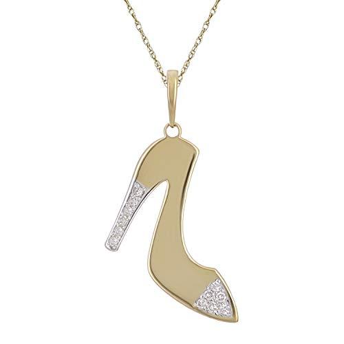 10K Yellow Gold Diamond-Studded Stiletto Shoe Shaped Pendant Necklace (0.03 cttw, I-J Color, I1-I2 Clarity), 18