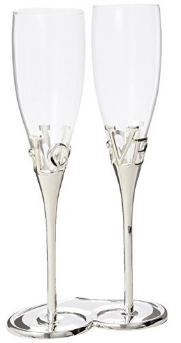 Silver Plated Love Stem Champagne Holder and Glass ()