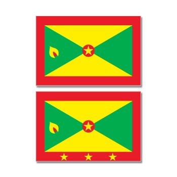 Grenada Country Flag - Sheet of 2 - Window Bumper Stickers (Sheet Grenada)