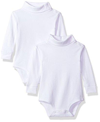 - Spasilk 3552 Baby Unisex Infant 2 Pack Turtleneck Long Sleeve Bodysuit, White, 18 Months