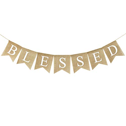 Blessed Banner Burlap| Blessed Bunting| Rustic Thanksgiving Decor| Thanksgiving Banner| Family Photo Prop| Mantle Fireplace Hanging Decor | Holiday Decorations ()