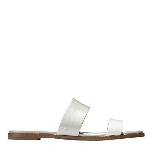 Cole Haan Donna Findra Ii Flat Sandal Vapor Grigio-ottico In Pelle Bianca