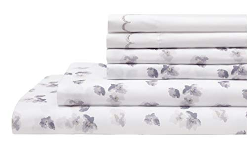 Elite Home Products Spring Meadow Microfiber Print Embroidered Bed Sheet Set, Full, Gray