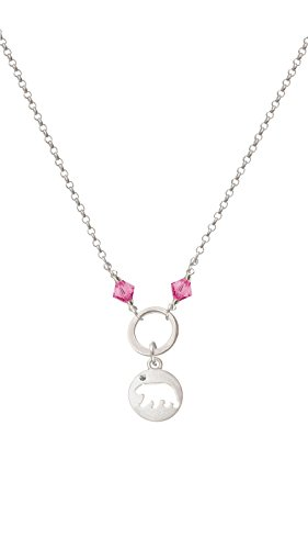 - Silvertone Bear Silhouette - Hot Pink Eternity Circle Necklace, 20