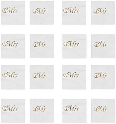 UPKOCH Hochzeitsservietten Herr Und Frau Goldener Cocktail Dessert Servietten Taschentuch für Hochzeit Dusche Verlobungsfeier Schreibtisch Abendessen Dekorationen (10 Blatt Frau + 10 Blatt Herr)