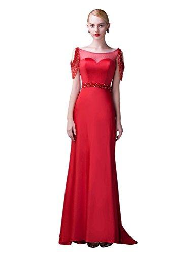 Beauty-Emily Friesen Sheer O-Ausschnitt-Kappen-Hülsen-Sweep Tailing Abendkleider Rot