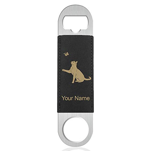 Bottle Opener, Cat with Butterfly, Personalized Engraving Included (Faux Leather, Black & Gold) (Butterfly Opener Gold Bottle)
