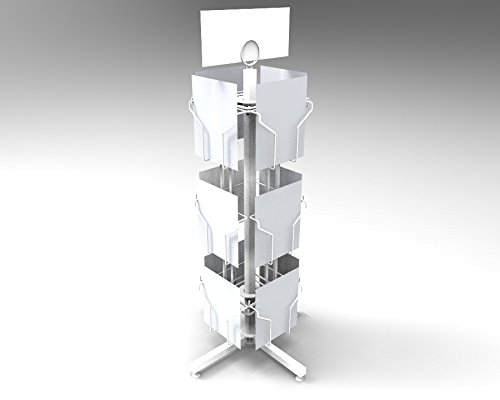 FixtureDisplays 12 Vertical Pockets White Display, Greeting Post Card Christmas Holiday Spinning Rack Stand 11702-WHITE! (Greeting Stands Card)