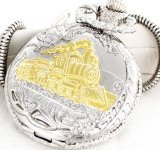 Steam Locomotive Conductor's Train Pocket Watch Silver-plated,
