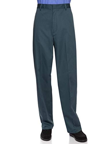 Flat Front Twill Trousers - AKA Half Elastic Wrinkle Free Flat Front Men's Slacks – Relaxed Fit Twill Casual Pant Spruce 44 Short