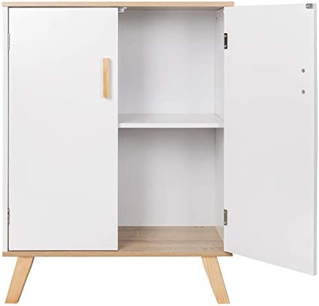 WOLTU Bathroom Floor Cabinet, Storage Cabinet Oak+White with Doors, 2 Large Storage Shelves Organize Bathroom Accessories