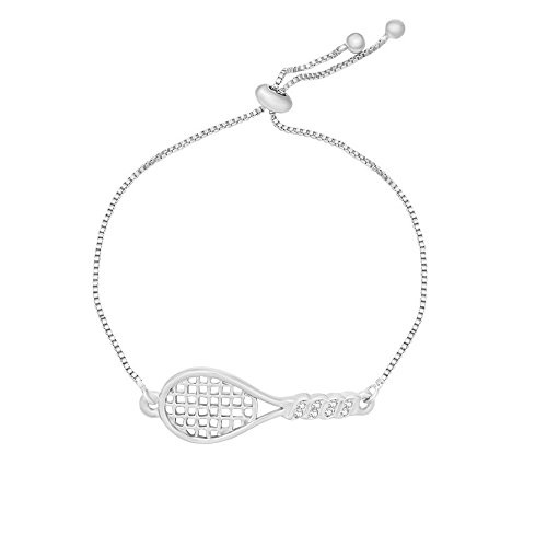 Perfect Tennis Adjustable Bracelet Bangle Best Tennis Jewelry Gifts for Tennis Players (Silver) ()