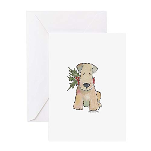 CafePress Wheaten Terrier With Holly Greeting Card, Note Card, Birthday Card, Blank Inside Matte