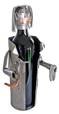 Female Dentist Wine Bottle Holder H&K Steel Sculpture 6222-LI