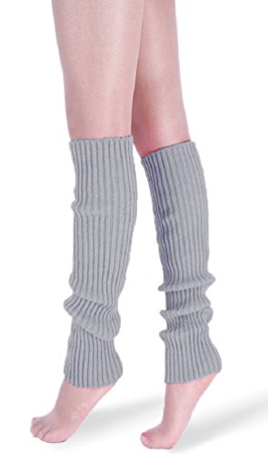 *daisysboutique* Retro Unisex Adult Junior Ribbed Knitted Leg Warmers (One Size, Silver) -