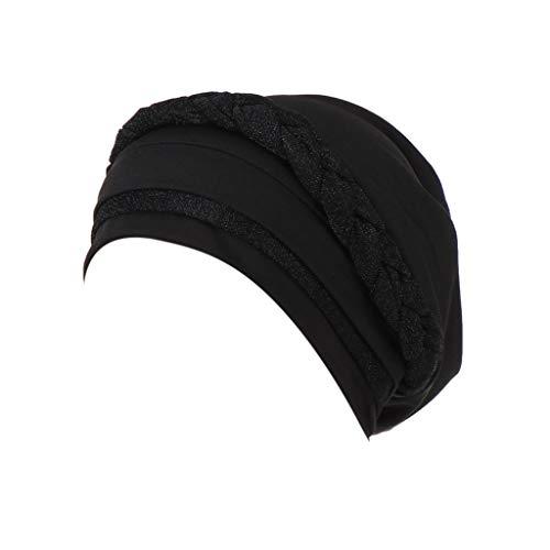 Women Frontal Cross Bonnet Hijab India Hat Muslim Ruffle Cancer Chemo Beanie Floral Turban Wrap Cap (Black)]()