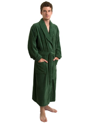 TowelSelections Men's Terry Shawl Robe Turkish Cotton Bathrobe X-Small/Small (Green Mens Robe)