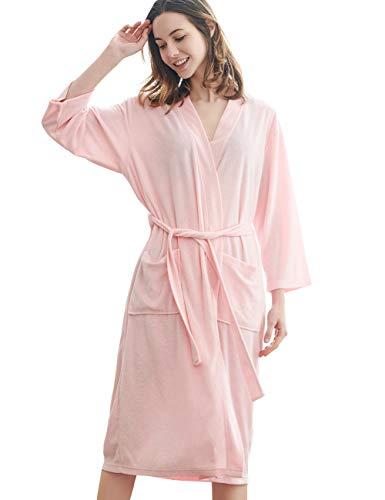 - DGGLIFE Women's Robes Lightweight Knee Length Bathrobe Short Terry Cloth Spa Kimono Thin Ladies Soft Summer Nightwear Sleepwear Pink