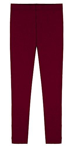 Popular Big Girl's Cotton Ankle Length Leggings - Burgundy - 10 ()