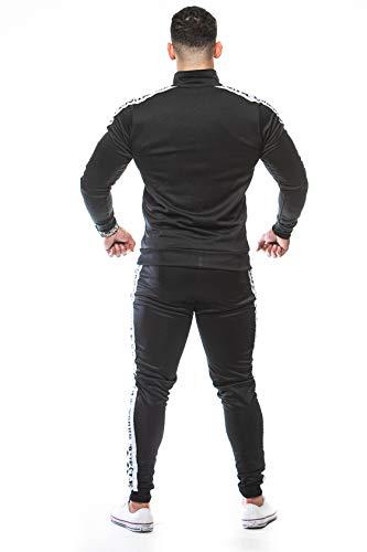 Muscle Works Gym Mens Slim Fit Designer Tracksuits Full Gym Wear Casual Wear Tracksuit Set Polyester Black