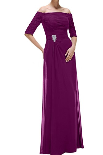 Dunkelfuchsie Ivydressing Festkleider Lang Abendkleider Chiffon Promkleid Mit U Damen Ausschnitt Aermeln PwPqrnfv