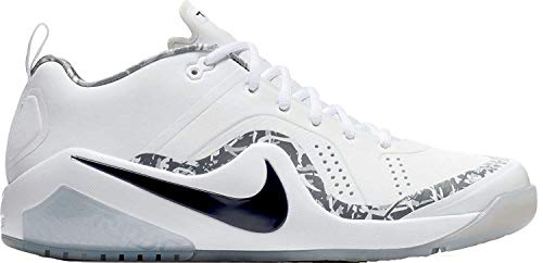 (Nike Force Zoom Trout 4 Turf 917838-100 Men's White-Black-Metallic Silver Baseball Cleats 13 US)