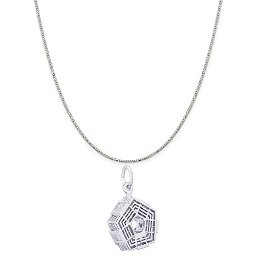 Rembrandt Charms 14K White Gold Pentagon Charm on a 14K White Gold Box Chain Necklace, 20