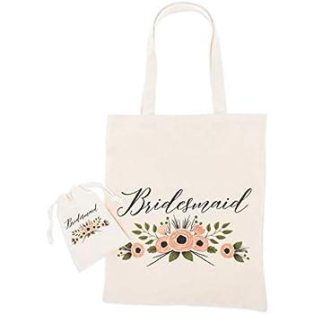 2c1c5834d49 Amazon.com: Personalized 16oz Tote Bag, Custom Bridal Party Bag ...