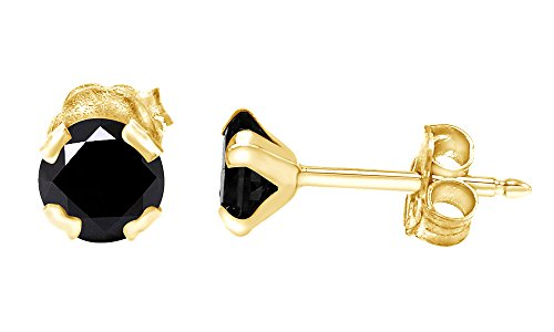 Round Cut Black Moissanite Stud Earrings In 10K Solid Yellow Gold (0.40 Ct) ()