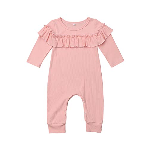 Newborn Infant Baby Girl Ruffle Long Sleeve Pink Romper Jumpsuit Footless Onesies Coverall Playsuit Outfits (9-12Month)