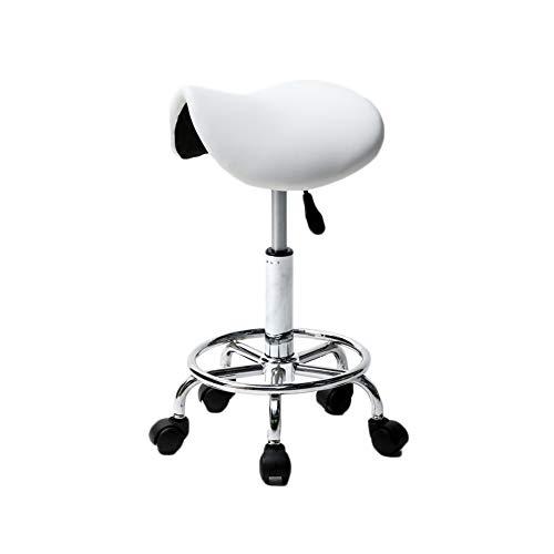 - Modern Saddle Stool Hydraulic 360° Adjustable Swivel 5 Wheels Rolling SPA Salon Computer Chair White