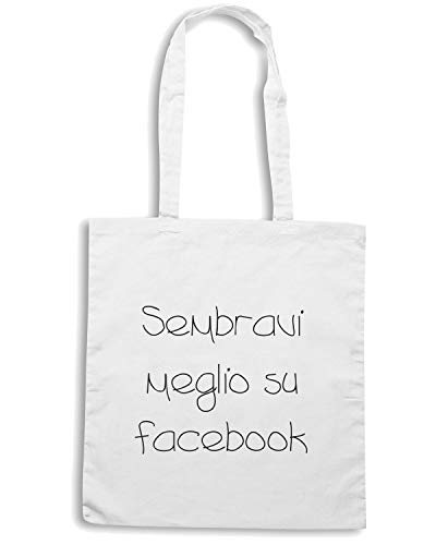 Speed Shirt Borsa Shopper Bianca TDM00248 SEMBRAVI MEGLIO SU FACEBOOK