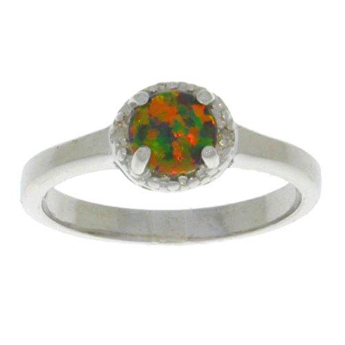 Simulated Black Opal & Diamond Round Ring .925 Sterling Silver Rhodium Finish