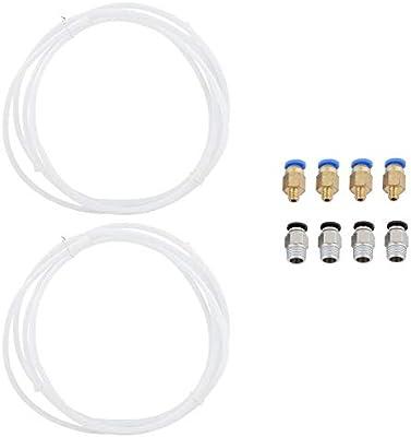 Zerone Tubo de teflón PTFE de 2 Piezas y 4 Piezas PC4-M10 ...