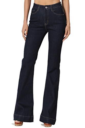 TheMogan Women's Vintage Mid Rise Waist Bell Bottom 70's Flared Jeans Super Dark 7