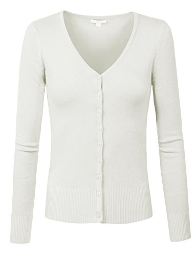 J. LOVNY Womens Basic Casual Light V Neck Button Down Cardigan Sweater (H&m Halloween Outfits)