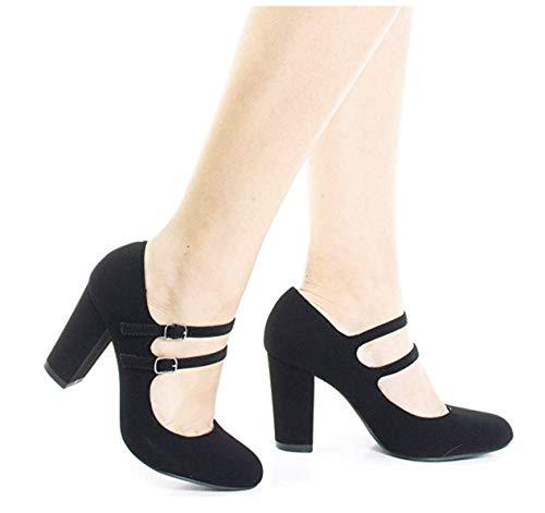 City Classified Curt Comfort Padded Insole Double Buckle Mary Jane Dress Pump, Chunky Block Heel (10 B(M) US, Black) -
