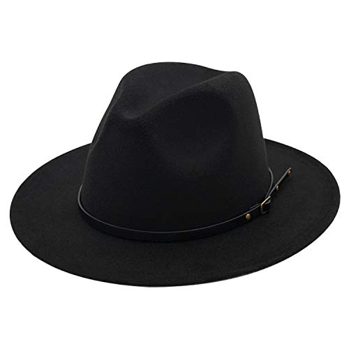 DRESHOW Women Straw Panama Hat Fedora Beach Sun Hat Wide Brim Straw Roll up Hat UPF 50+ (Felt Fedora Black a)