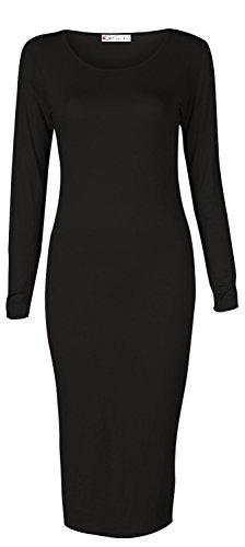 Crazy Girls Womens Ladies Long Sleeve Scoop Neck Midi Dress (S/M-US6/8, Black) (Scoop Neck Sleeve Long Dress)