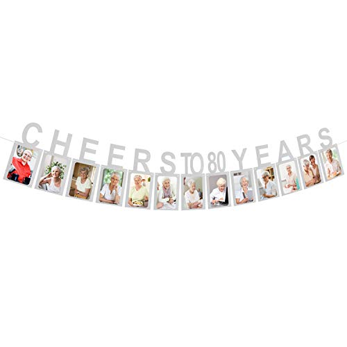 AERZETIX Cheers to 80 Years Silver Photo Banner Happy 80th Birthday Milestone Anniversary Party Decoration Hanging Supplies Gift Keepsake for Women or Men Eighty Birthday Sign.