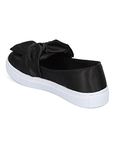 Alrisco Women Bow Tie Sneaker - Satin Ribbon Slip on - Casual Dressy Versatile Walking Everyday Feminine Sneaker - HD23 by Qupid Collection Black Satin J8NHKi8