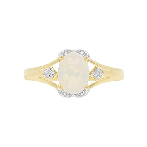 10kt Yellow Gold Ethiopian Opal and Diamond Accent Fashion Ring, Size-7 by Isha Luxe-Gemstone Collection (Image #4)