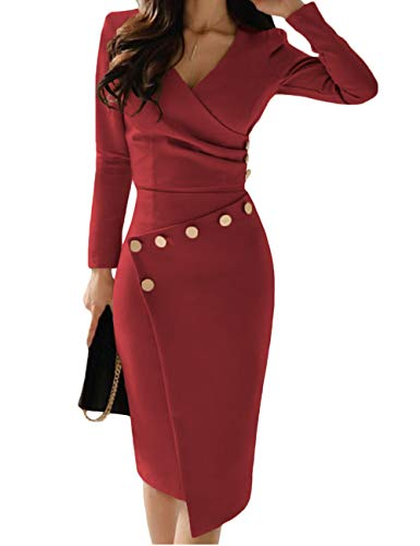 Dress Evening Career Cocktail - Lrady Women's Deep V Neck Casual Work Bodycon Cocktail Party Pencil Midi Dress Red S