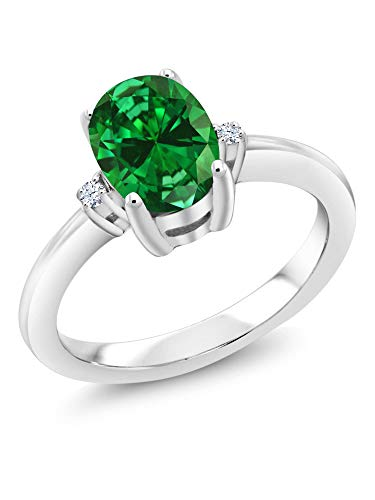 Gem Stone King Sterling Silver Green Simulated Emerald & White Topaz Women