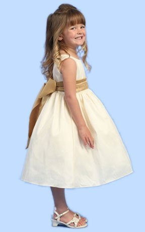Sleeveless Ivory Flower Girl Dress with Change Color Sash Size 4T - (Child)
