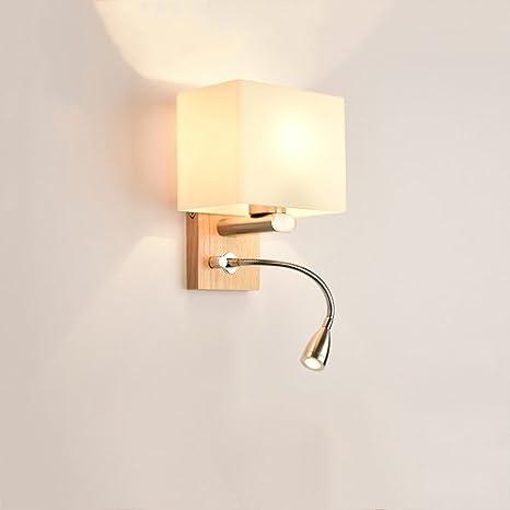 Kmyx Lampada Da Parete A 2 Luci In Legno Con Paralume In Vetro