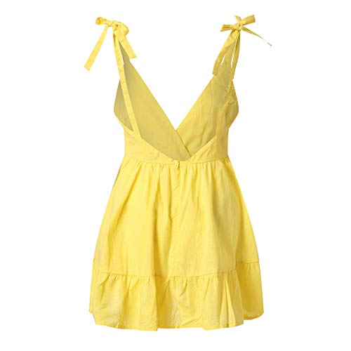 Couleur Amlaiworld Col Dress V Casual Sexy Plage Volants Dos Princesse Chic De Épaules Unie Party Sans Blanc Sling Robe Manches Femmes Mini Dénudées Nu aYwUra
